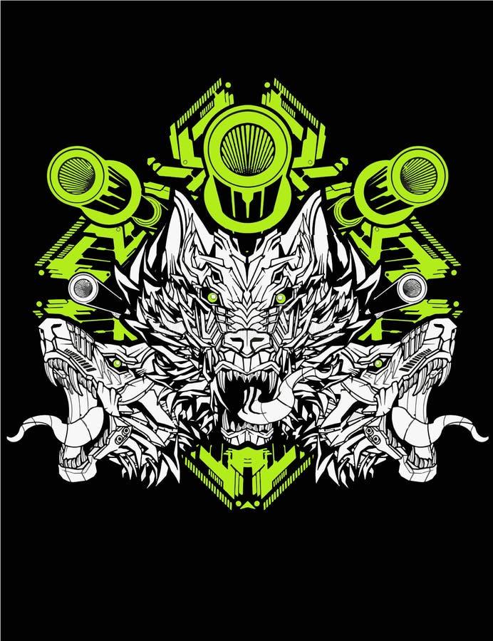 Guerrero lobo de tres cabezas con fondo sagrado de geometría para el diseño de afiches y camisetas ilustración del vector
