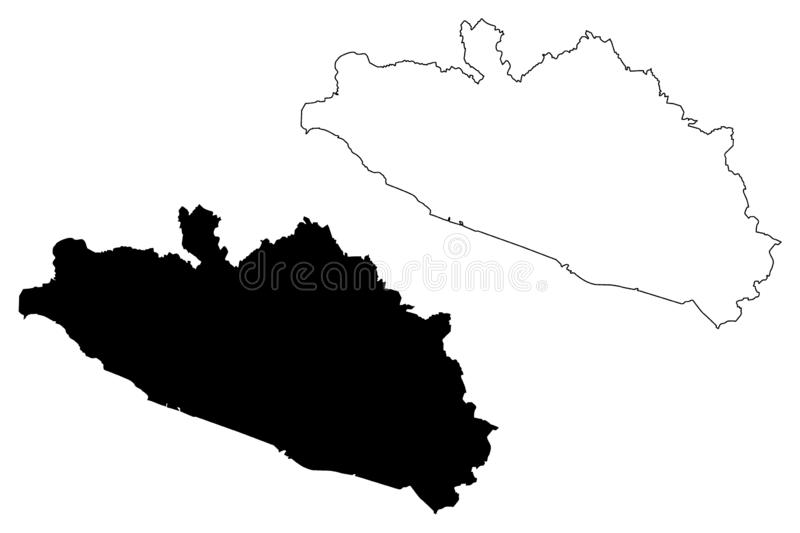 Guerrero map vector. Guerrero United Mexican States, Mexico, federal republic map vector illustration, scribble sketch Free and Sovereign State of Guerrero map royalty free illustration