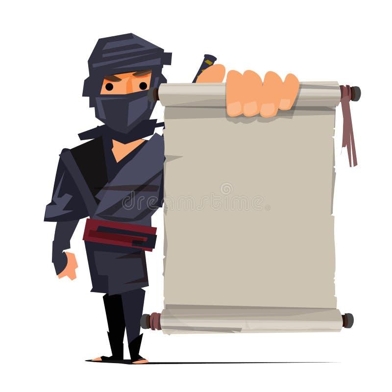 Guerrero masculino del ninja que muestra el papel viejo a la presentación techni del ninja ilustración del vector