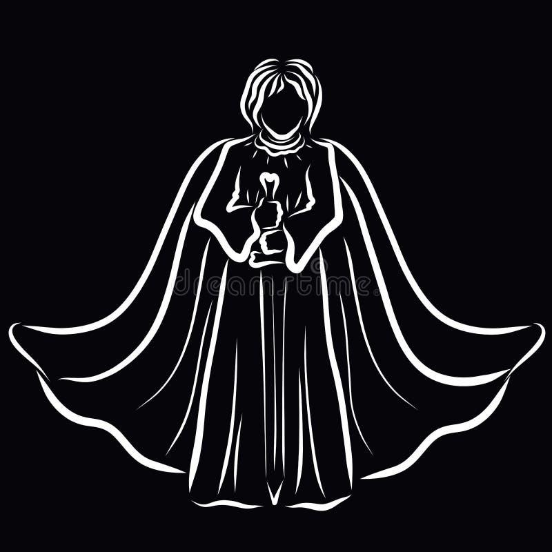 Guerrero o ángel con una espada a disposición, en una capa ilustración del vector