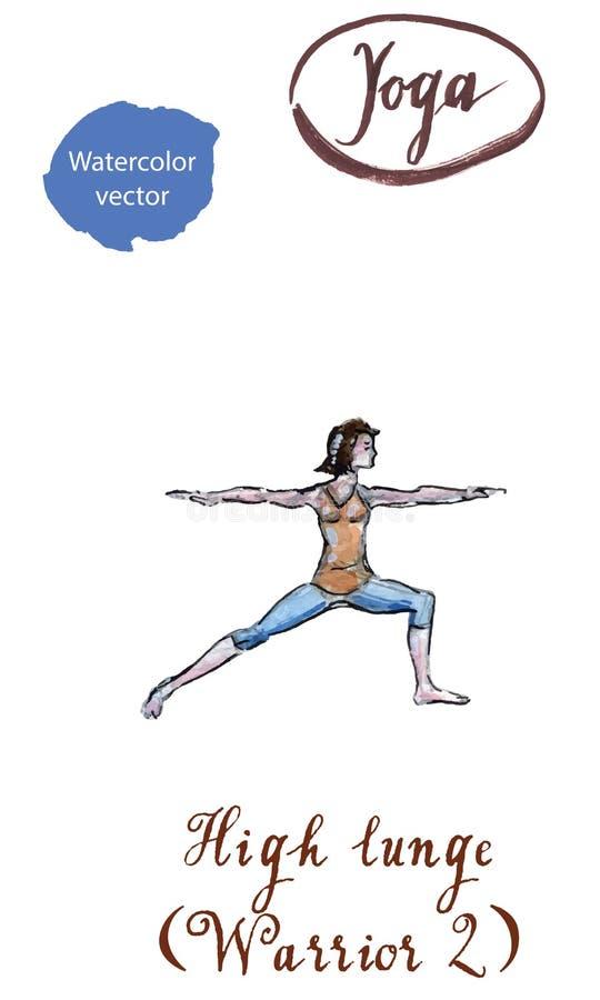 Guerrero practicante po de Virabhadrasana dos del asana de la yoga de la mujer joven stock de ilustración