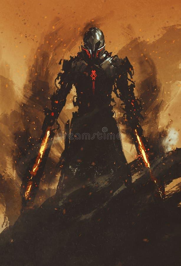 Guerrero que presenta con las espadas de la llama del fuego en fondo del fuego ilustración del vector