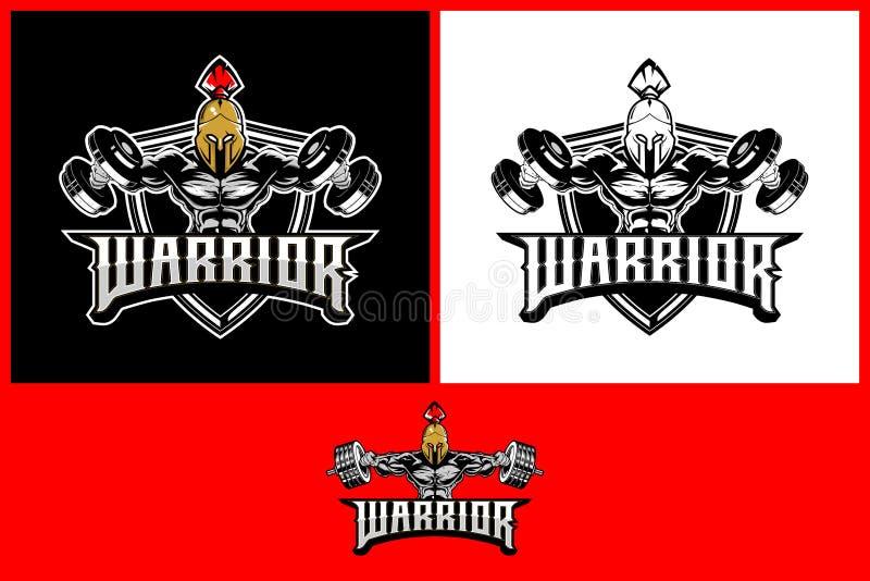Guerrero que sorprende vikingo con la plantilla de la insignia del logotipo del vector del escudo y del hacha stock de ilustración