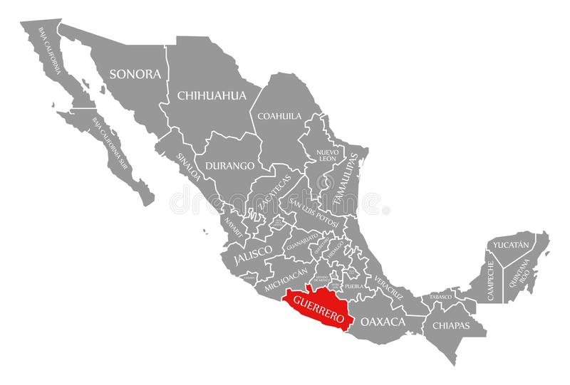 Guerrero red highlighted in map of Mexico. Illustration vector illustration