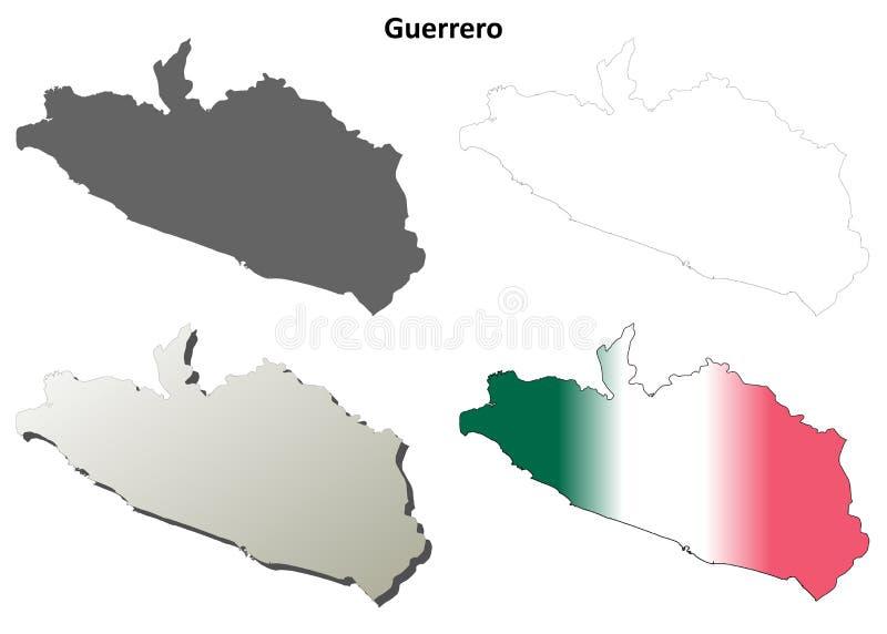 Guerrero blank outline map set. Guerrero state blank vector outline map set stock illustration