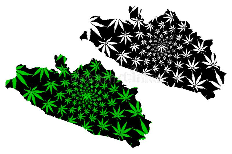 Guerrero United Mexican States, Mexico, federal republic map is designed cannabis leaf green and black, Free and Sovereign State. Of Guerrero map made of royalty free illustration