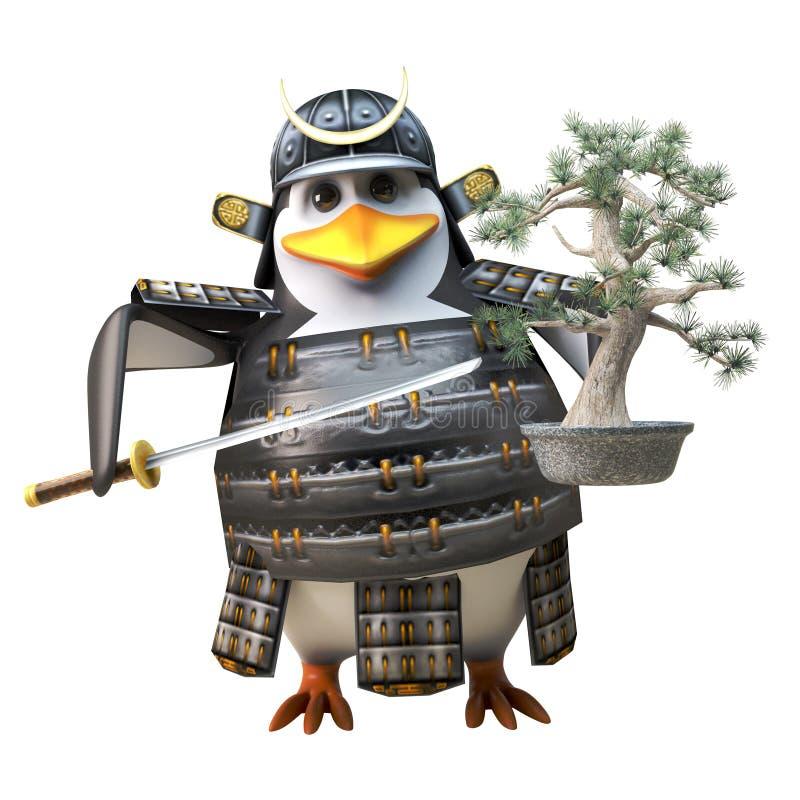 Guerrero valiente del pingüino del samurai en la armadura que sostiene una espada del árbol y del katana de los bonsais, ejemplo  ilustración del vector