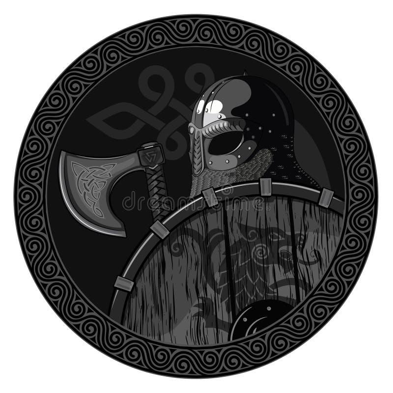 Guerrero Viking Berserker bárbaro con el hacha y el escudo stock de ilustración