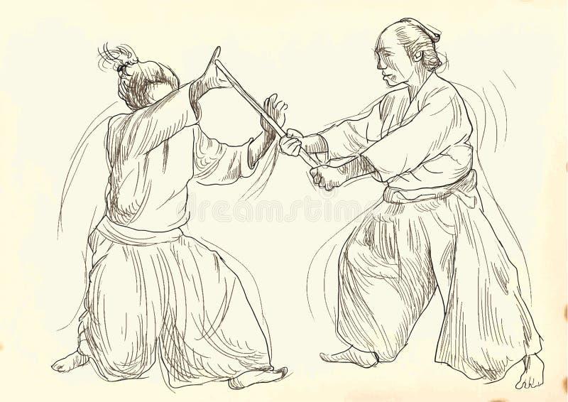 Guerreros del Aikido stock de ilustración