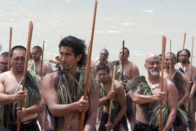 Guerreros maoríes el el día de Waitangi fotos de archivo libres de regalías