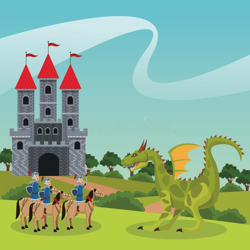 Guerreros medievales del reino stock de ilustración