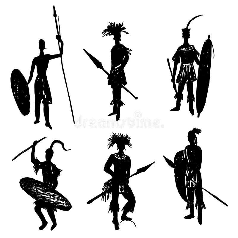 Guerreros tribales africanos en el traje y los brazos de la batalla que dibujan el ejemplo dibujado mano