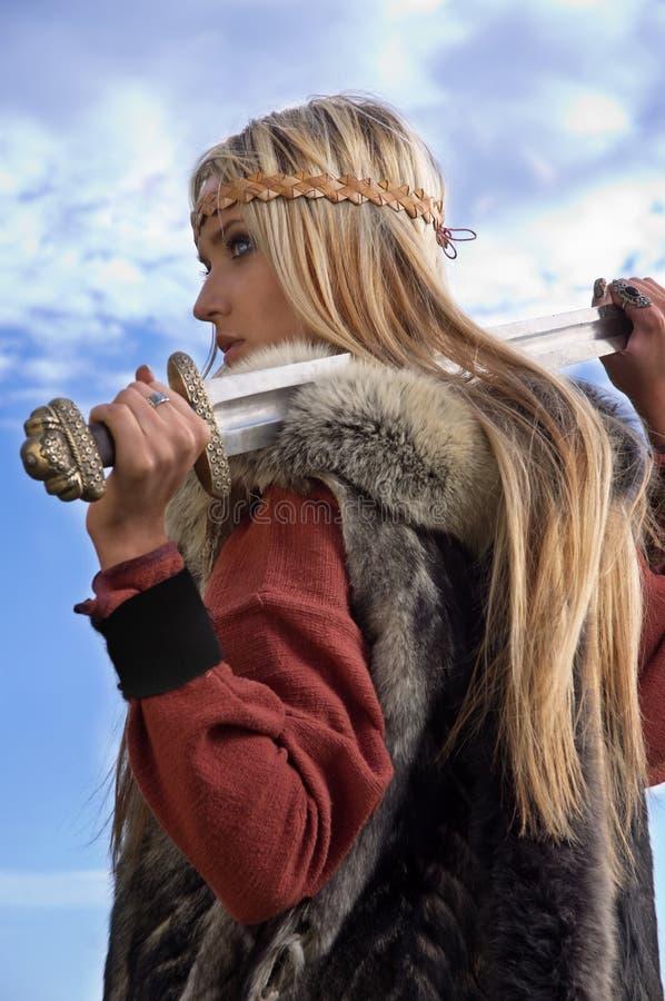 Guerrière de fille de Viking photos libres de droits