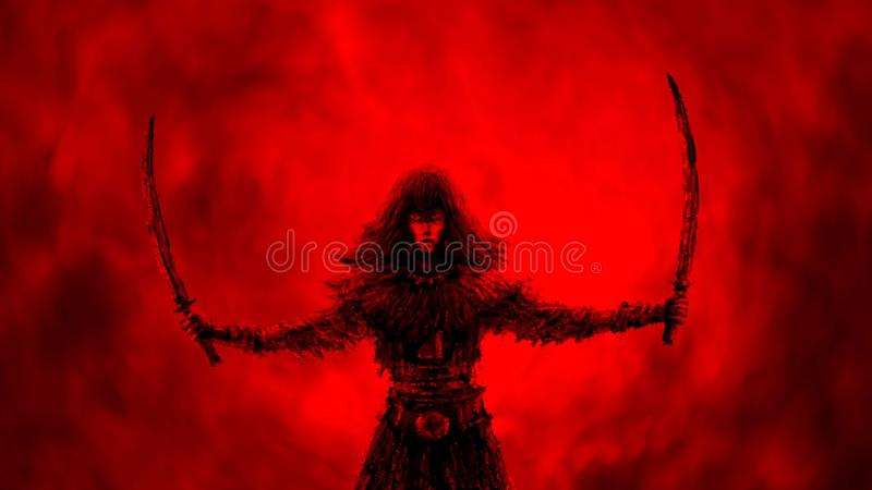 Guerrière noire de femme de silhouette avec deux lames augmentées illustration de vecteur