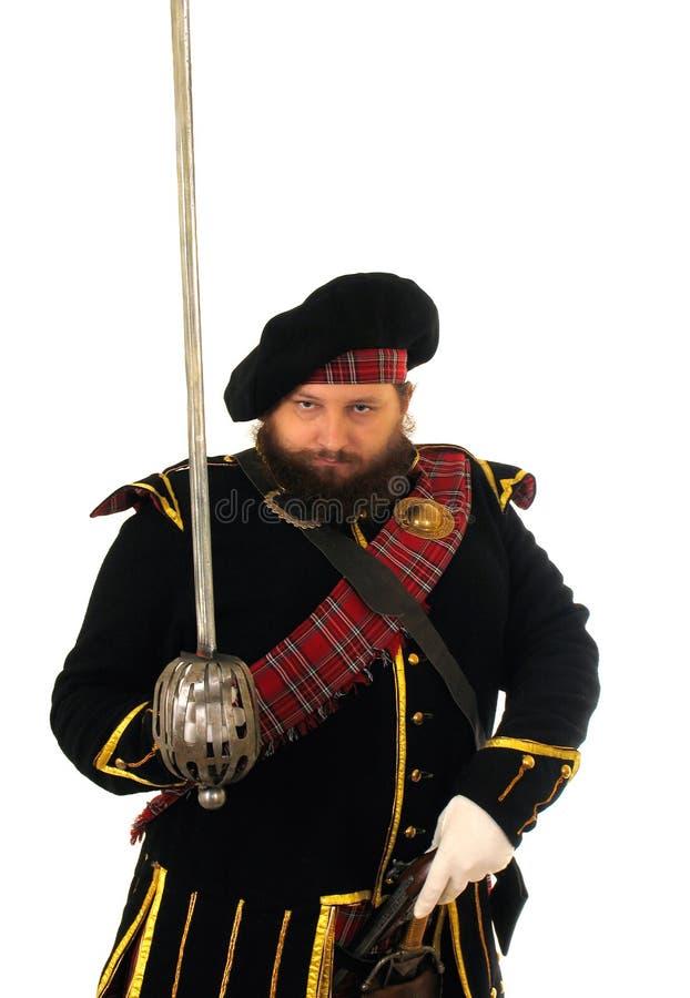Guerrier écossais avec l'épée image libre de droits