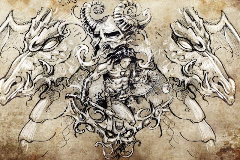 Guerrier avec des dragons, croquis de tatouage illustration stock