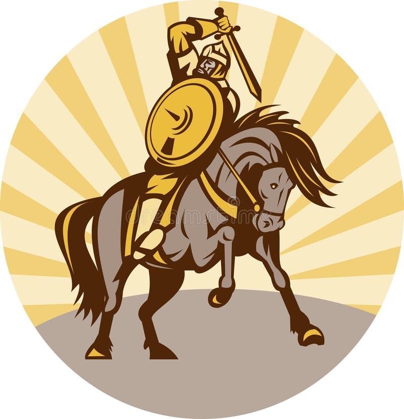 Guerrier avec l'épée d'écran protecteur sur le cheval illustration libre de droits