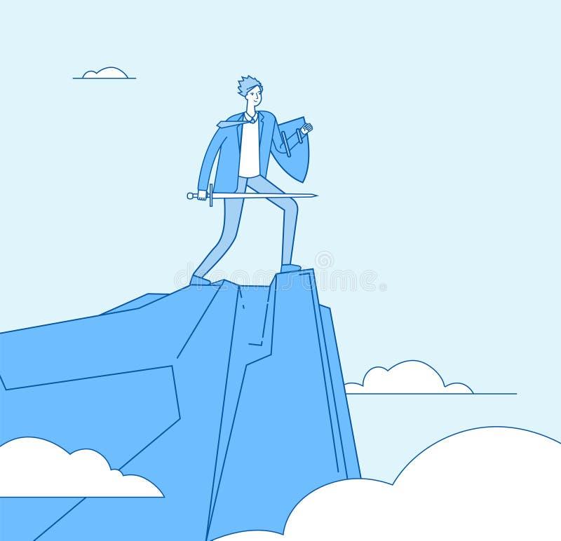 guerrier d'affaires Épée de participation de chevalier de conquérant d'homme d'affaires et bouclier protégé Vecteur de protection illustration stock
