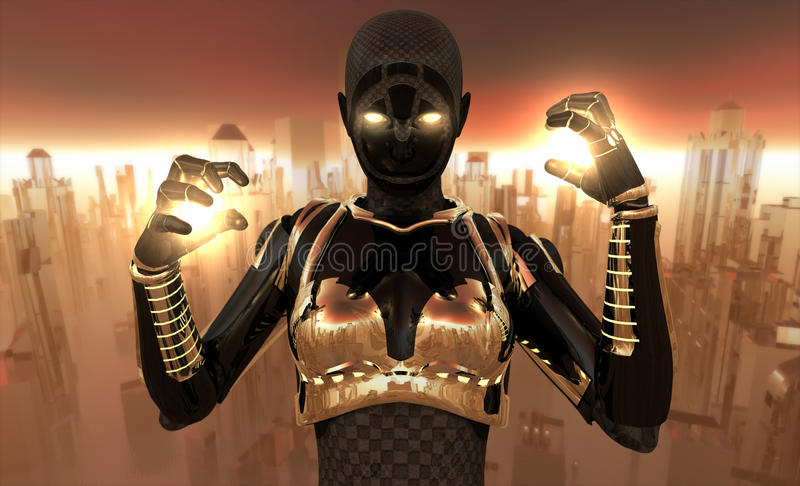 Guerrier de Cyborg illustration de vecteur