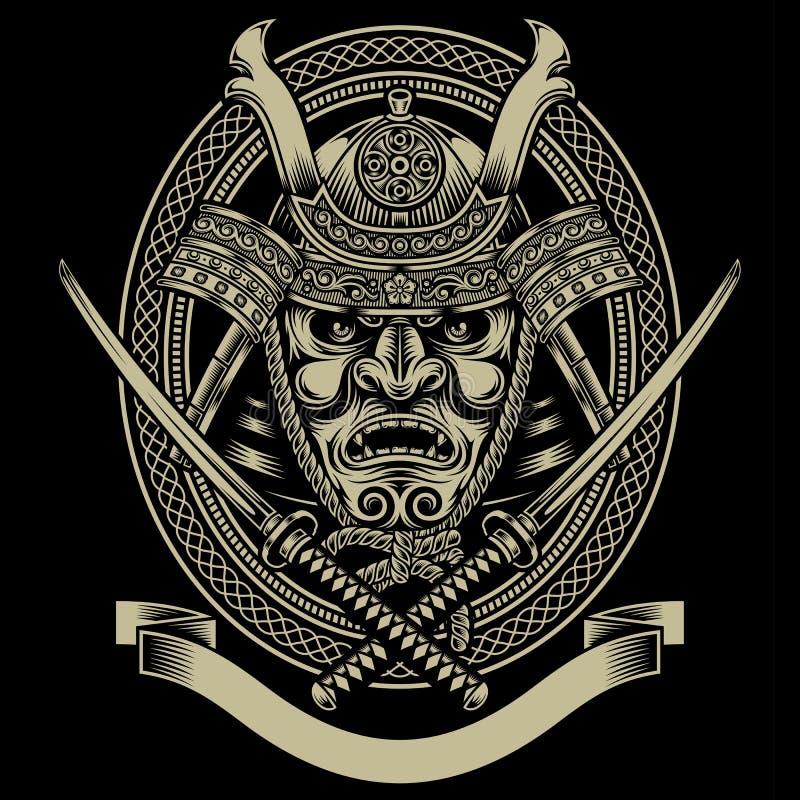 Guerrier de samouraï avec l'épée de katana illustration de vecteur