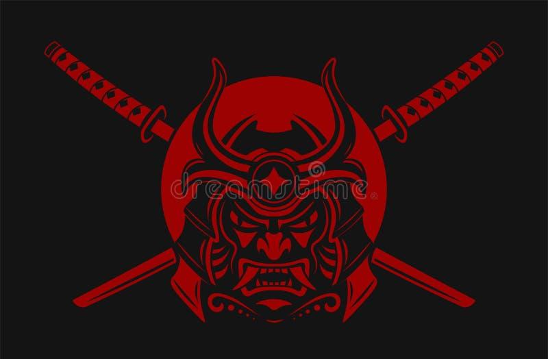 Guerrier de samouraï avec l'épée de katana Japonais samouraï de masque Ronin Illustration de vecteur image libre de droits