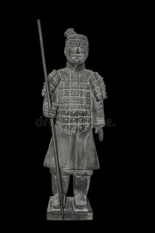 Guerrier de terre cuite Statue, archéologie image stock