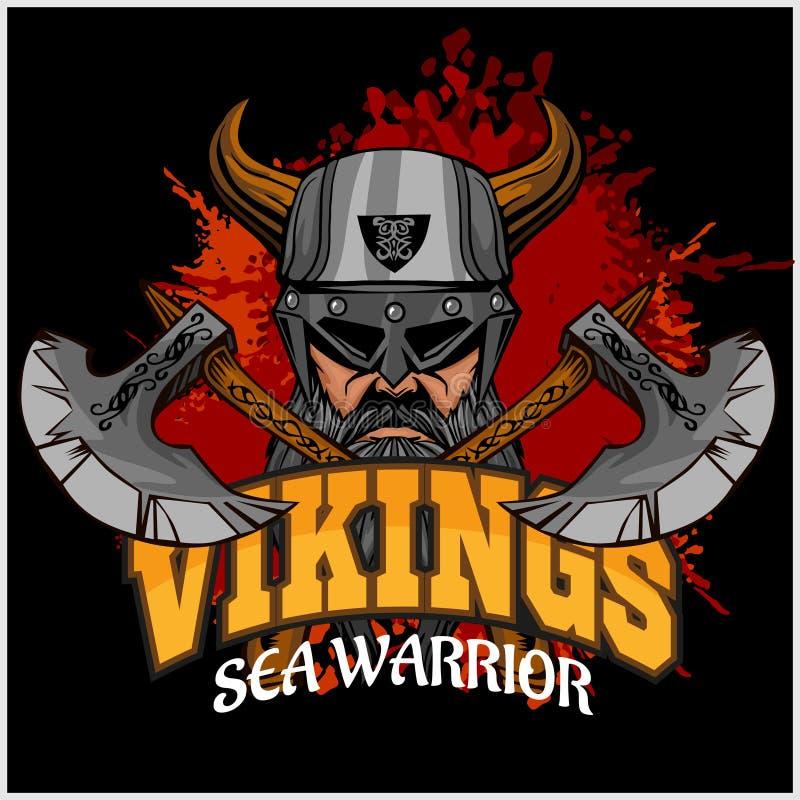 Guerrier de Viking et haches croisées illustration libre de droits