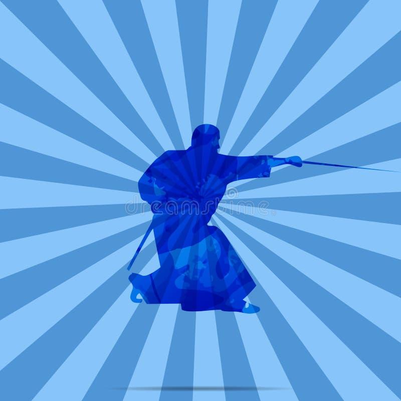 Guerrier et épéiste japonais, samouraï illustration stock