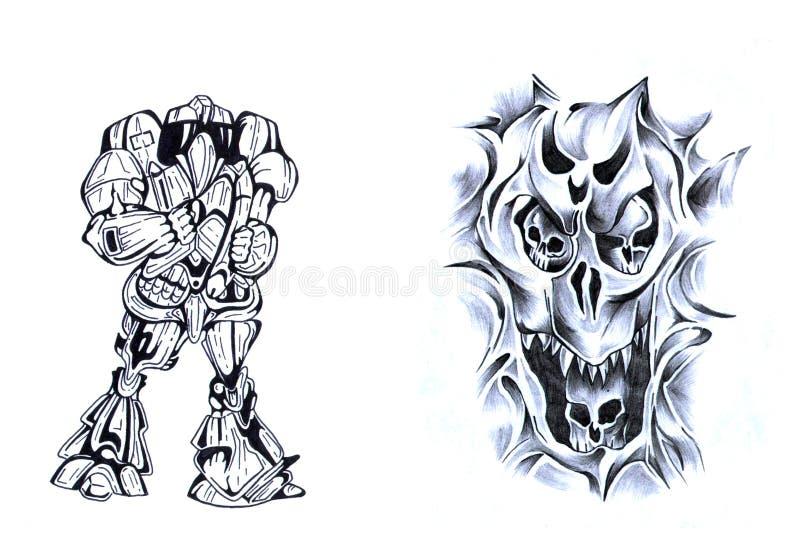 Guerrier et le crâne II. illustration de vecteur