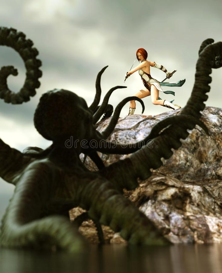 Guerrier féminin contre le poulpe géant illustration de vecteur