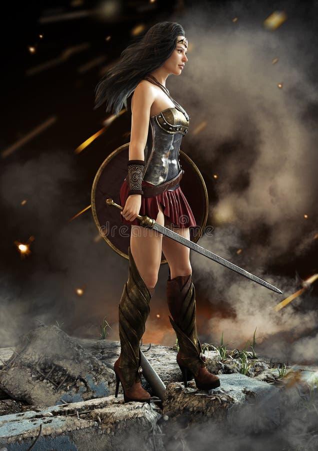 Guerrier féminin regardant dessus après une bataille avec l'épée et le bouclier à disposition illustration libre de droits