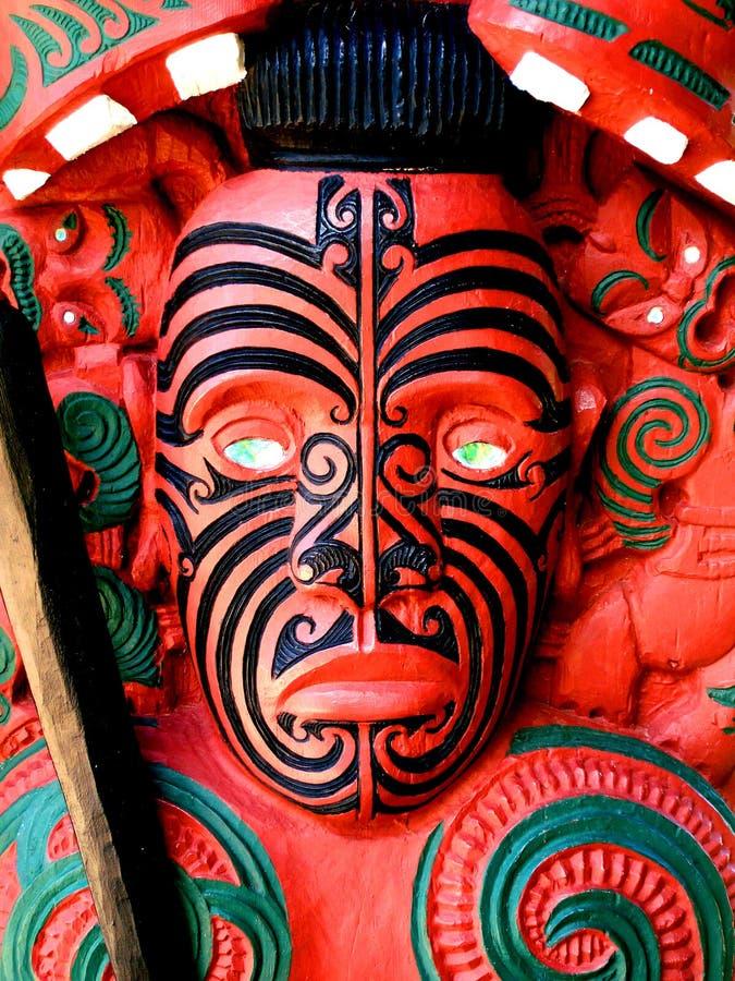 Guerrier maori découpant, Nouvelle Zélande photo stock
