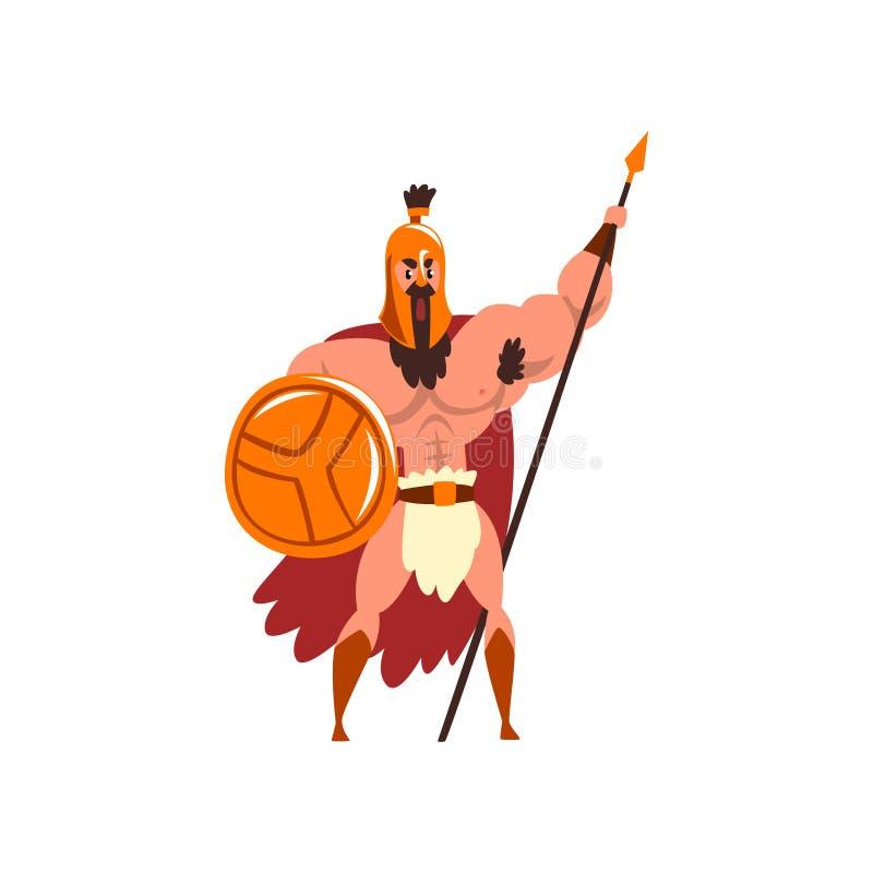 Guerrier musculaire spartiate dans l'armure d'or et le cap rouge, caractère antique de soldat avec le bouclier et vecteur de lanc illustration stock