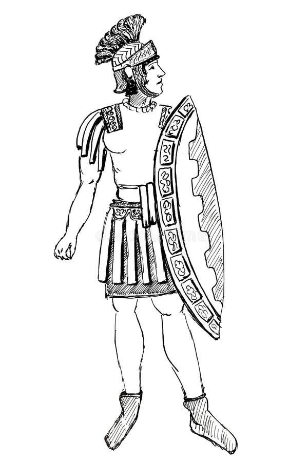 Guerrier Pretorian antique de Rome illustration stock