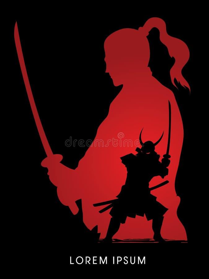 Guerrier samouraï avec l'épée illustration stock
