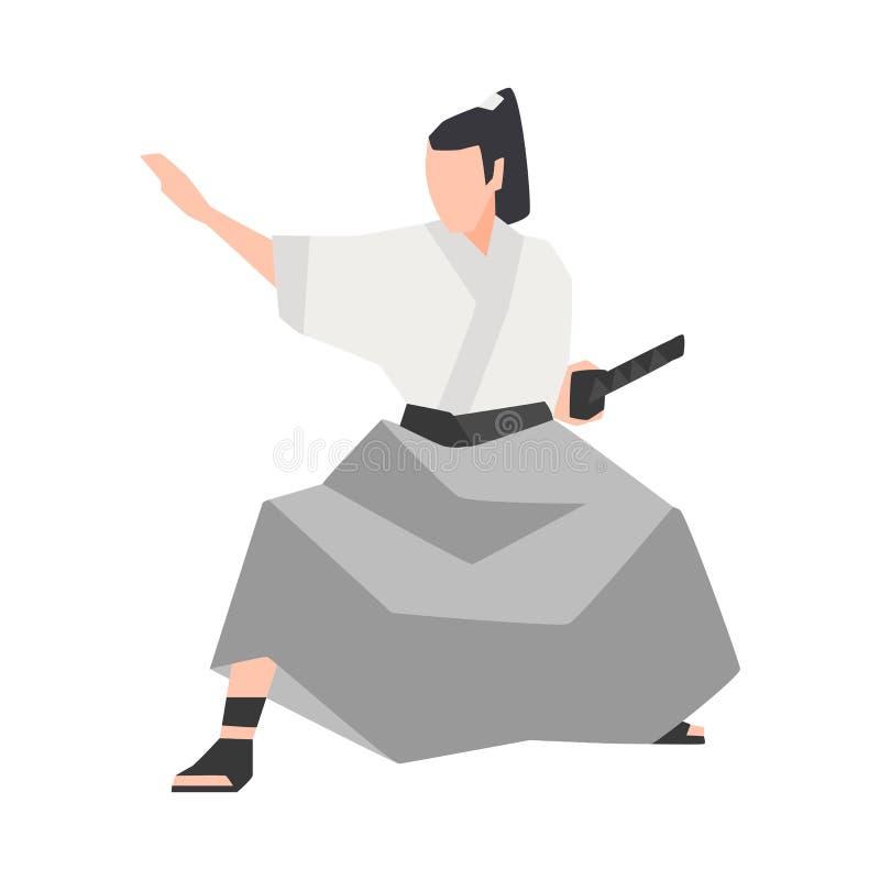 Guerrier samouraï d'isolement sur le fond blanc Kimono de port de chevalier japonais courageux, se tenant en position de combat e illustration libre de droits