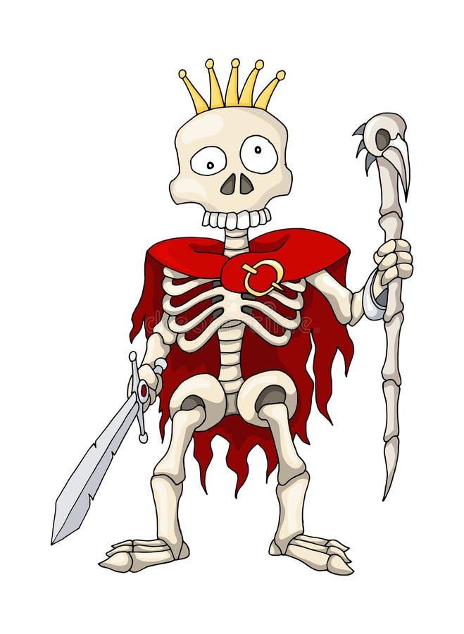 Guerrier squelettique humain se tenant avec l'épée et le sceptre, personnage de dessin animé illustration de vecteur