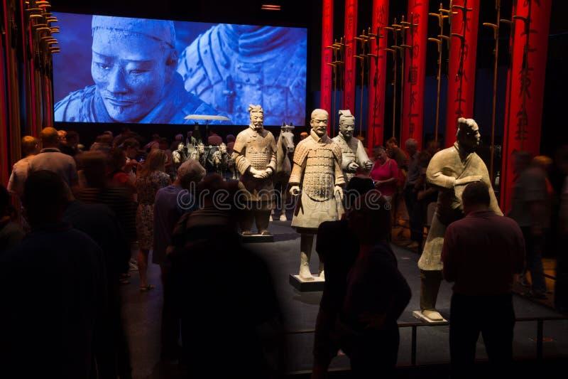 Guerrieri cinesi di terracotta al museo di Moesgaard, Aarhus, Danimarca immagini stock