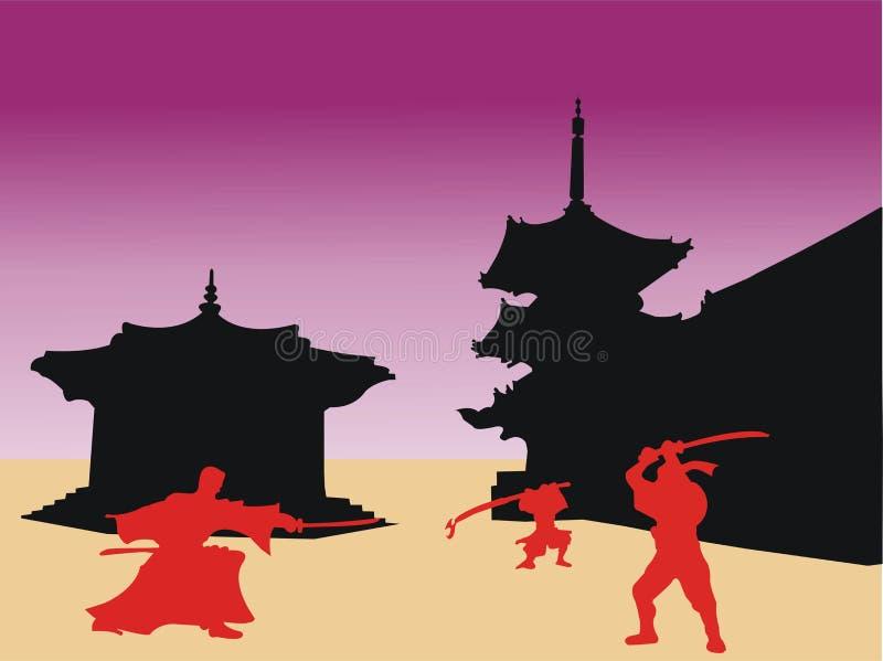 Guerrieri del samurai royalty illustrazione gratis