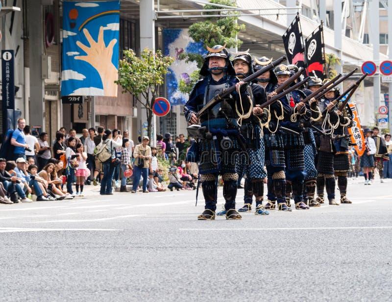 Guerrieri del samurai con i hackbuts fotografie stock libere da diritti