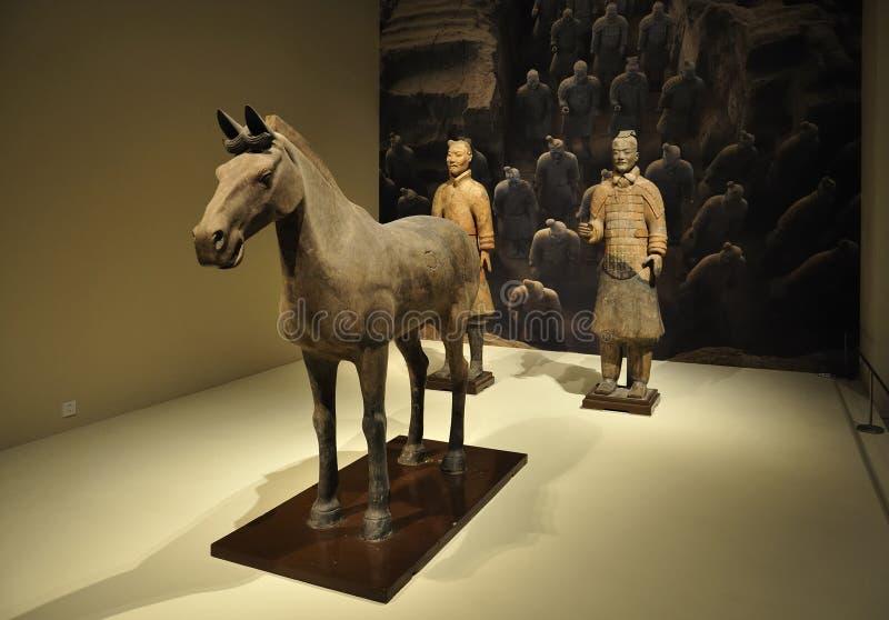 Guerrieri di terracotta della Cina, museo immagini stock libere da diritti