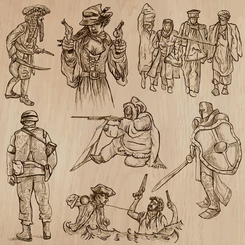 Guerrieri e soldati - vettori disegnati a mano illustrazione vettoriale