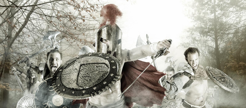 Guerrieri/gladiatori antichi pronti a combattere fotografia stock libera da diritti