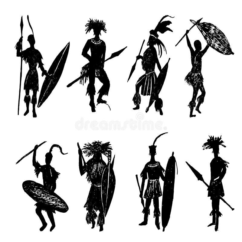 Guerrieri tribali africani che disegnano l'illustrazione di schizzo