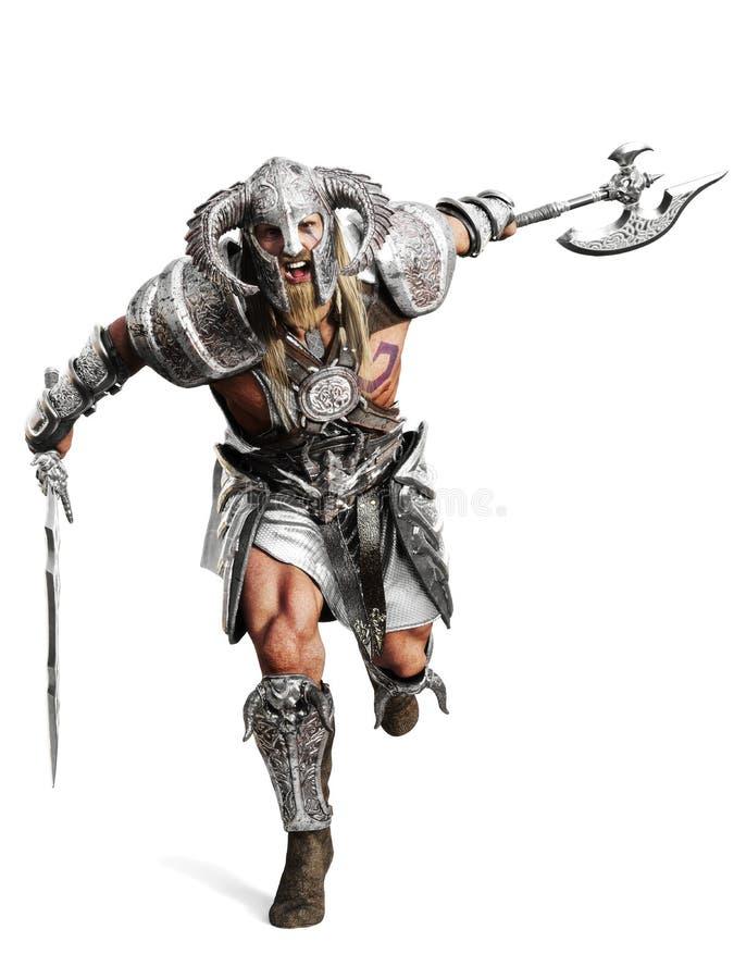 Guerriero barbaro corazzato feroce che si imbatte in battaglia su un fondo bianco isolato illustrazione vettoriale