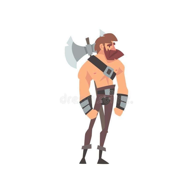 Guerriero barbaro muscolare barbuto con l'ascia, personaggio dei cartoni animati storico medievale nel vettore tradizionale del c illustrazione vettoriale