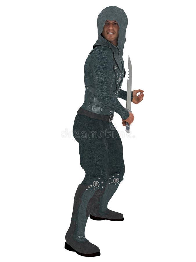 Guerriero con il cappuccio e la spada illustrazione vettoriale