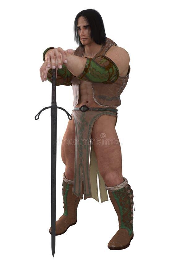 Guerriero del barbaro di fantasia illustrazione di stock