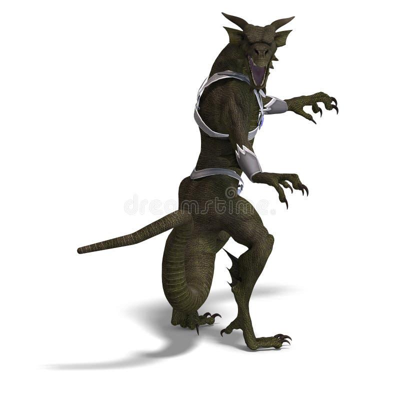Guerriero del drago di fantasia illustrazione vettoriale