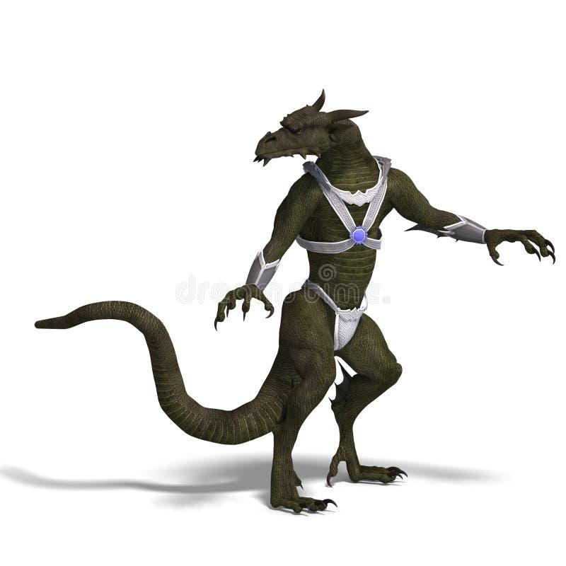 Guerriero del drago di fantasia illustrazione di stock